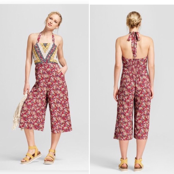 Olive Xhilaration Womens Floral Print Halter Top Overall Jumpsuit